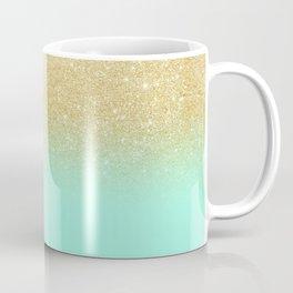 Modern gold ombre mint green block Coffee Mug