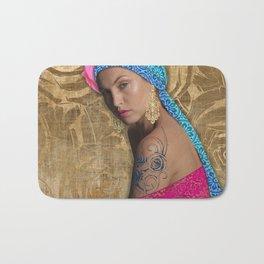 Woman with Rose Tattoo Bath Mat