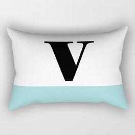 Monogram Letter V-Pantone-Limpet Shell Rectangular Pillow