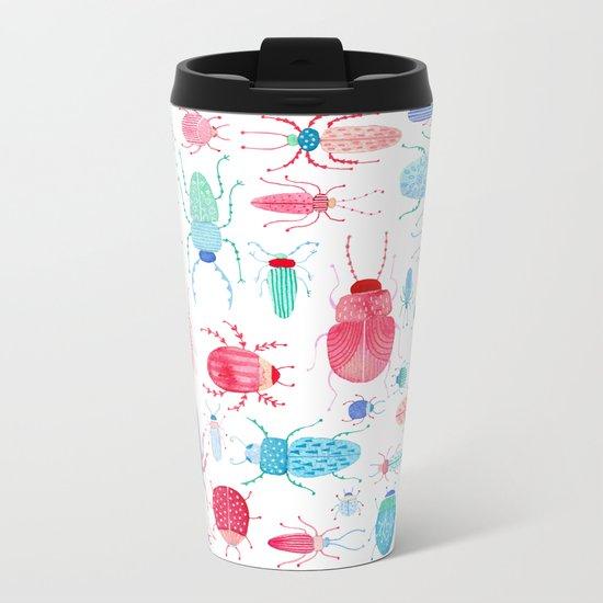 Watercolor Beetles Metal Travel Mug