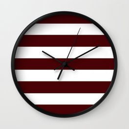 Dark chocolate - solid color - white stripes pattern Wall Clock