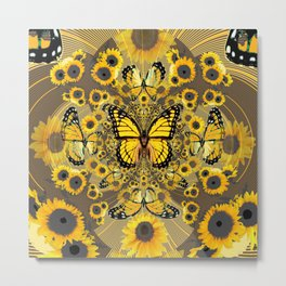 BLACK-GOLD MONARCHS SUNFLOWER ART Metal Print
