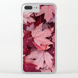 Dark Autumn Leaves Clear iPhone Case