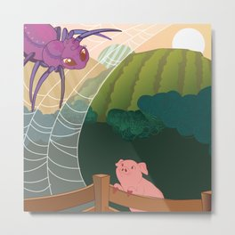 The spider and the pig Metal Print