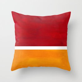 Burnt Red Yellow Ochre Mid Century Modern Abstract Minimalist Rothko Color Field Squares Throw Pillow