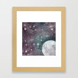 Cosmic Blue and Purple Sky with Moon  Framed Art Print
