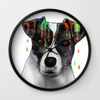 jack russell Wall Clocks featuring Jack Russell Dog BW by Marlene Watson