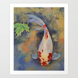 Koi with Japanese Maple Leaf Art Print