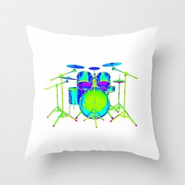 Colorful Drum Kit Throw Pillow