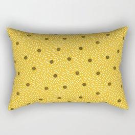 Polka dots and dashes // mustard and gray Rectangular Pillow