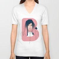 bjork V-neck T-shirts featuring B of Bjork by David Alegria