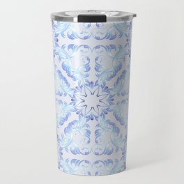 Baroque style blue pattern. Christmas motif. Travel Mug