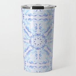 Baroque style blue pattern. Christmas motif. Travel Mug