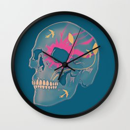 Faded Natured Skulled Wall Clock