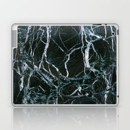 Black Marble With White Ribbons Laptop & iPad Skin