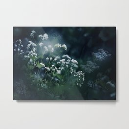 Blue and White Baby's Breath Garden Metal Print
