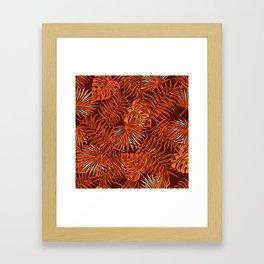 Tropical Autumn, Botanical Leaves Monstera Framed Art Print