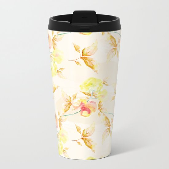 Delicate Floral Pattern 06 Metal Travel Mug
