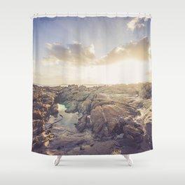 Golden hour, rocky beach Landscape - Photography #Society6 Shower Curtain
