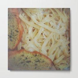 Fettuccine Alfredo And Garlic Bread Metal Print