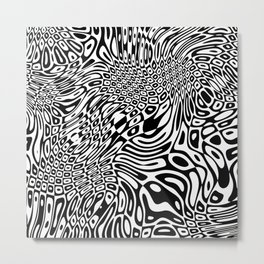 Black  and white psychedelic optical illusion Metal Print