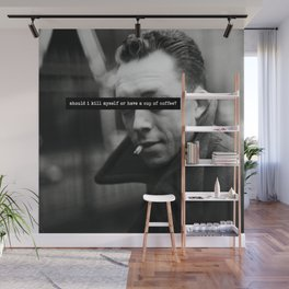 """""""Should I Kill Myself or Have a Cup of Coffee?"""" Albert Camus Quote Wall Mural"""