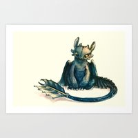 alicexz Art Prints featuring Toothless by Alice X. Zhang