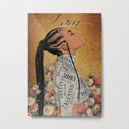 Afro Pride Braid Girl God Says You Are Metal Print
