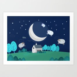 What The Sheep Do While You Sleep Art Print