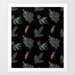 Winter Foliage in Coal Black Art Print