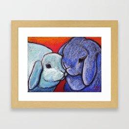 Blue Bunnylove Framed Art Print