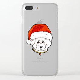 Bichon Frise Dog Christmas Hat Present Clear iPhone Case