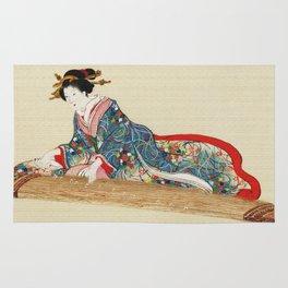 Japanese Lady Playing the Koto Rug