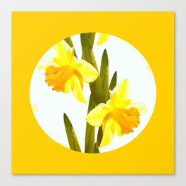 Yellow Spring Flowers with Green Leaf #decor #society6 #buyart Canvas Print