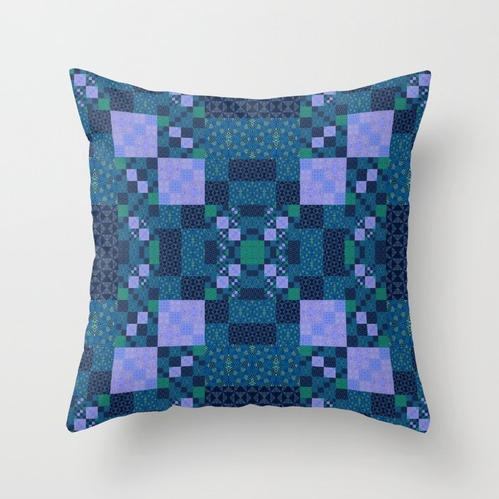 Elegant Geometric High Definition Quilt Lavender Teal Throw Pillow