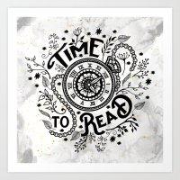 Time to Read - Black Art Print