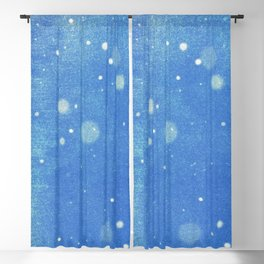 Vintage snow and blue sky Blackout Curtain