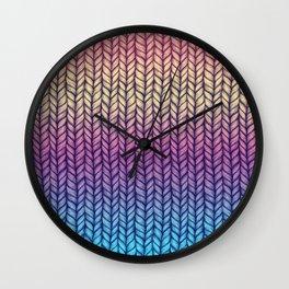 Rainbow Gradient Chunky Knit Pattern Wall Clock