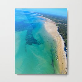 Indian Ocean Boats III; Landscape Photo with Vivid Colors, Abstract Feel Metal Print
