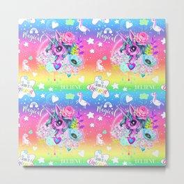 I wanna be a Unicorn Pattern Metal Print