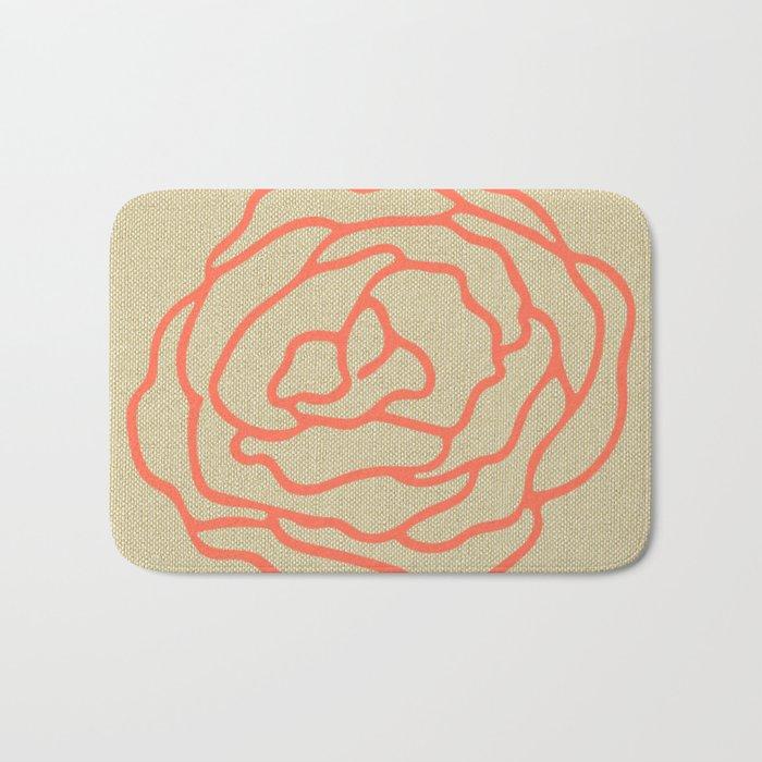 Rose in Deep Coral on Linen Bath Mat