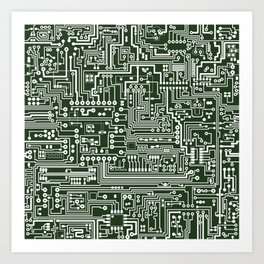 Circuit Board // Green & White Art Print