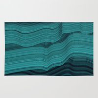 malachite Area & Throw Rugs featuring Blue waves by contemporary