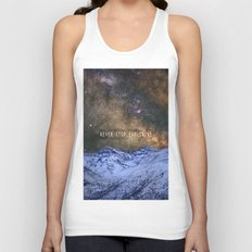 Never stop exploring mountains, space..... Unisex Tank Top