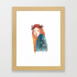 Berries Crown Girl Framed Art Print