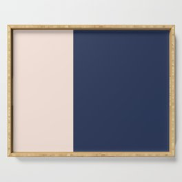 peach and navy stripes, minimalist, simple design, cool, chic, modern, elegant Serving Tray