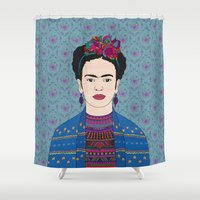 frida kahlo Shower Curtains featuring Frida Kahlo by Bianca Green
