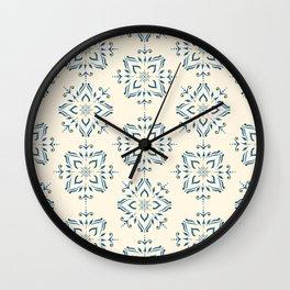 Portuguese tile style ornamental pattern - blue on cream Wall Clock
