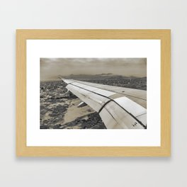 Airplane Arriving to Small Town Framed Art Print
