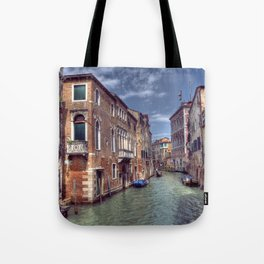 Boats & Gondola down a street canal off the Grand Canal in Venice, Italy Tote Bag